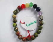 WholesaleGemShop - Unakite Buddha Bracelet with chakra beads
