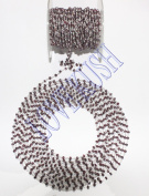 1.5m NATURAL GARNET FACETED RONDELLE BEADED BEADS 925 STERLING SILVER PLATED 3-4MM ROSARY BEADS CHAIN
