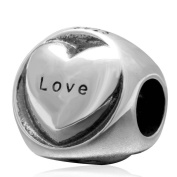 Charmstar Hope Faith Love Heart Charm Authentic 925 Sterling Silver Word Bead for European Bracelet Compatible