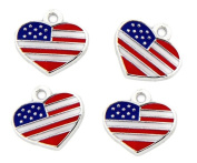 PlanetZia 6pcs Enamelled American Flag Heart Charms for Jewellery Making TVT- HYA-FLG