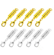 Anser Creative Pack of 10pcs Gold Colour and Silver Colour Tone Magnetic Lobster Clasp for Jewellery Necklace Bracelet