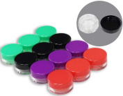 HAWK Set of 12 Clear Plastic Jars With Coloured Lids