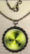 1 Bug Symbol Black Bottle Cap Pendant Necklace with Black Cable Chain