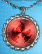 1 Fire Symbol Silver Bottle Cap Pendant Necklace