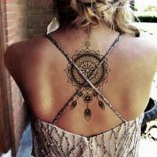Kotbs Waterproof Large Lotus Totem Temporary Tattoos Paper Body Art Big Tattoo Sticker for Women