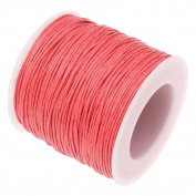 CORAL RED 1mm Waxed Cotton Braided Cord Wax Polished Macrame Beading Artisan String