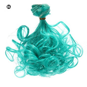 15cm*100cm DIY High-temperature Wire Peacock Blue Pear Curly Hair row for BJD / Blythe /Barbie Doll Wigs