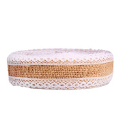 10M Natural Burlap Ribbon Roll With Lace For Wedding Christmas DIY Craft MBJ-01