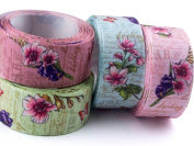 "Summer-Ray.com 20 yards Satin Ribbons 1"" 25mm Vintage Floral 4 Colours Mixed Package"