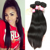 B & P Hair Brazilian Virgin Remy Straight Hair Weave 6A Unprocessed Brazilian Human Hair Extension Silky Straight 3 Bundles 300g Natural Black Hair 12 14 41cm