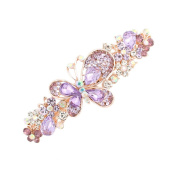 GSM Accessories Womens Rhinestone Butterfly Large Size Alloy Hair Clips Barrettes HC199-Purple