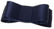 L. Erickson USA Wide Couture Bow Barrette - Silk Charmeuse Navy