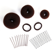 Face Forever Ponytails Bun Maker Hair Mesh Sponge 3pcs Hair Mesh Chignon Dounts Foam Sponge Bobby Pins 10pcs, N Style Hair Pin 10pcs Hair Tie 2pcs for Brown Hair