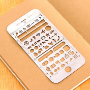 IOS Template for iphone 6/6s Plus,JoyTong Multifunctional Portable Drawing Stainless Steel Stencil Size 16cm ×7.8cm