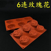 Cute 6 Rose Shape Silicone Ilicone Chocolate Cake Pudding Mould Baking Cup Tool Mould Bakeware