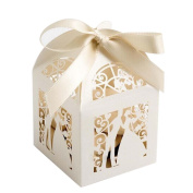 LEORX Hollow Couple Design Wedding Favours Sweets Candy Gift Favour Boxes - 25 Pieces