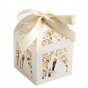 LEORX Hollow Couple Design Wedding Favours Sweets Candy Gift Favour Boxes - 50 Pieces