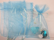 100pc Pearl Bead String 5.1cm x 7.6cm Mini Organza Gift Bag (PO1-Baby Blue) US SELLER SHIP FAST