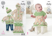 King Cole Baby Chunky Knitting Pattern Flower Dress Cardigan Onesie & Hat Set