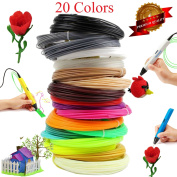 3D Printing Pen Filament Refills - 1.75mm ABS Plastic 328 Linear Feet Pack of 20 Different Colours 5m each, Included 2 Glow in the Dark. Each Colour in a Separate Vacuum sealed pack for easy use