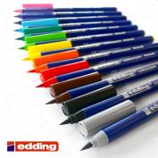 Edding - Colourpen - Brush Tipped Fibrepen - Wallet of 12
