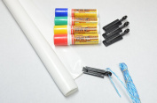 Glass Chalk - FACTORY SALE - WHAT UP Banner Kit - White includes WHAT UP Markers in Red, Yellow, Green and Blue!
