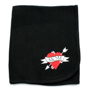 Crazy Baby Clothing I love Mom Tattoo Cotton Black Swaddling Receiving Blanket