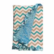 BayB Brand Blanket - Grey & Blue Chevron