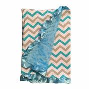 BayB Brand Blanket - Grey & Blue Chevron