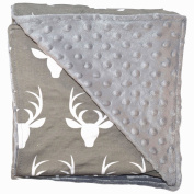 Unique Baby Soft Textured Minky Dot Blanket, Moose Grey