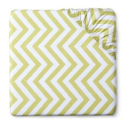 Woven Fitted Crib Sheet Chevron Lime