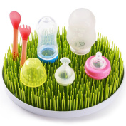 BABY MATE Cute Fake Grass Countertop Drying Rack (28cm X 23cm Big, 6.4cm Tall) for Babies - Baby Bottle Accessories Drying Rack - Air Drying Rack - Dish Drying Stand 4091