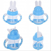 Per Cute 240ml Cartoon Rabbit Design Babies Kids Children Silicone Straw Water Bottle Sippy Cup Feeding Drinking Cup with Handle,3 Colour Available