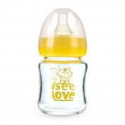 Vslyer Anti-colic Glass Baby Feeding Bottle,Yellow