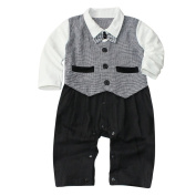 Lestore Baby Boys' Bow Tie Gentleman Plaid Romper Clothing Outfit