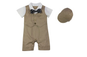 Lestore Baby Boys' Bowknot Gentleman Romper with Sun Hat Outfit