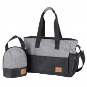 Stylish Nappy Shoulder Bag for Moms, Plus Insulated Bottle Sack