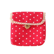 Gilroy Girl Cotton Dots Sanitary Napkins Holder Bag Nappy Storage Organiser - Red