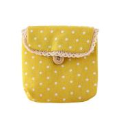 Gilroy Girl Cotton Dots Sanitary Napkins Holder Bag Nappy Storage Organiser - Yellow
