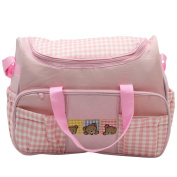 Aivtalk Baby Bag Nappy Wear-resisting Portable Mommy Bag Lattice with Pink Grid