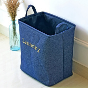 DreamInn Household Denim Folding Laundry Basket Hamper with Two Handles and Waterproof PE Coating