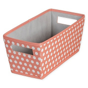 Dotted Fabric Quarter Storage Bin in Coral