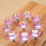 WICOO 10pcs 30mm Diamond Door New Crystal Glass Pull Drawer Cabinet Furniture Handle Knob Screw
