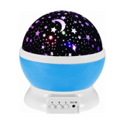 LED Night Light Rotating Star Projection Lamp with Moon Star Pattern 3 Modes LED Projector Light Lamp for Children and Kids Bed
