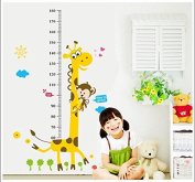 Lovely Giraffe and Monkey Children Growth Chart Height Chart Wall Decal for Nursery Decor
