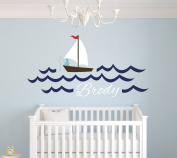 Custom Fishing Boy Name Wall Decal Baby Boy Room Decor Nursery Nautical Wall Decal Vinyl Sticker