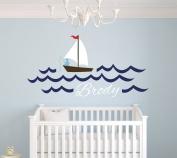 Custom Fishing Boy Name Wall Decal Baby Boy Room Decor Nursery Nautical Wall Decal Vinyl Sticker