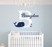Custom Whale Name Wall Decal Baby Boy Room Decor Nursery Nautical Wall Decal Vinyl Sticker