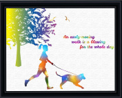 Aprilskys 11X14 Walking the Dog Canvas Art Print Wall Decor Home Décor Room Deco Inspirational Wall Art Gift A325