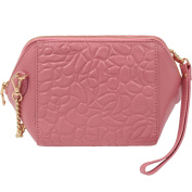X In Trendy 2ways Embossed Flower Design with Wrist Strap Women's Genuine Leather Clutch Bag